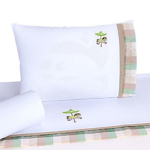 Jogo de Lençol de Berço 100%algodão Conforto Carrossel Verde