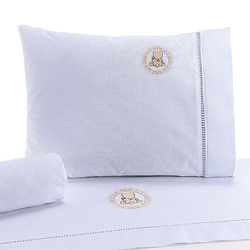 Jogo de Lençol de Berço 100% algodão Conforto Ursinho Branco