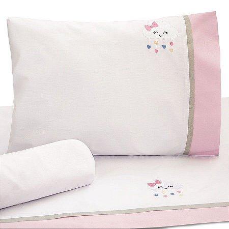 Jogo de Lençol de Berço 100% algodão Conforto Nuvem Rosa