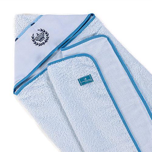 Toalha de Banho Infantil Bebê Fralda Conforto Coroa Azul