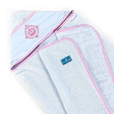 Toalha de Banho Infantil Bebê Fralda Conforto Coroa Rosa