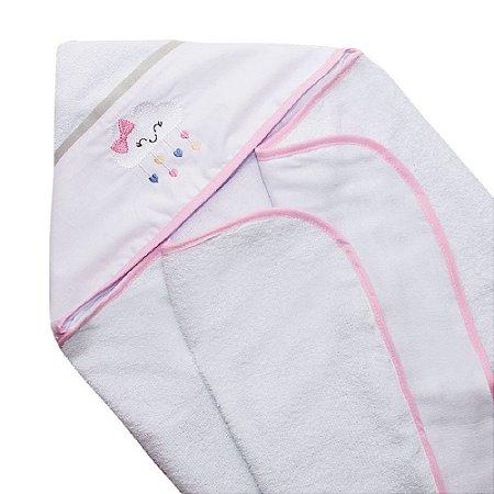 Toalha de Banho Infantil Bebê Fralda Conforto Nuvem Rosa