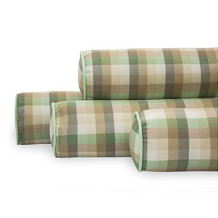 Kit de Rolinhos Berço Americano 4 peças Xadrez Verde