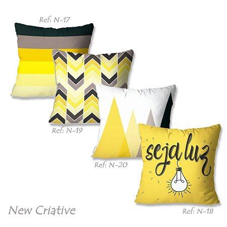 Kit com 4 Capas de Almofadas New Criative Estampada Seja Luz