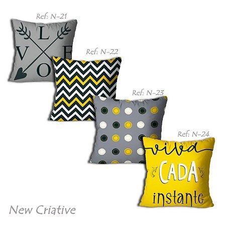 Kit com 4 Capas de Almofadas New Criative Cada Instante