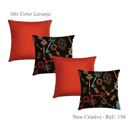 Kit com 4 Capas de Almofadas New Criative Laranja 156
