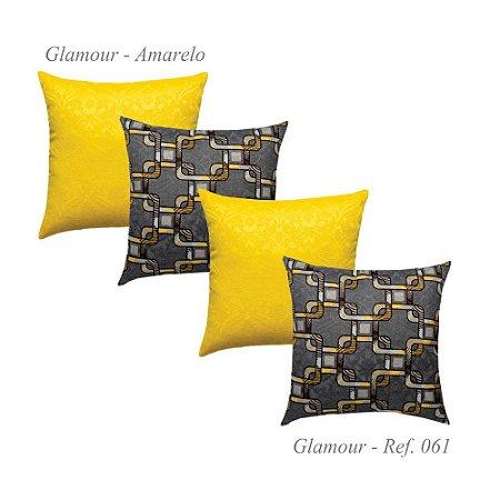 Kit com 4 Capas de Almofadas Glamour Jacquard Amarela 61