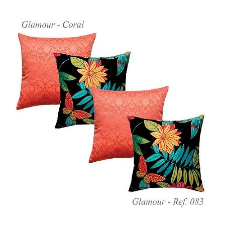 Kit com 4 Capas de Almofadas Glamour Jacquard Coral 83