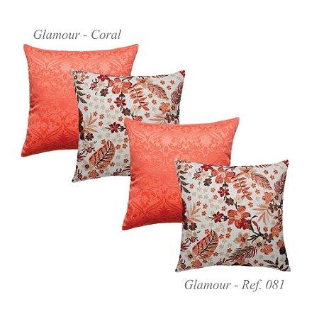 Kit com 4 Capas de Almofadas Glamour Jacquard Coral 81
