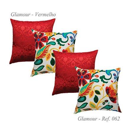 Kit com 4 Capas de Almofadas Glamour Jacquard Vermelha 62