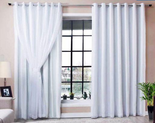 Cortina Corta Luz 100% Blackout Com Voil Para Sala ou Quarto 3,00M x 2,50M Branco Para Varão Simples