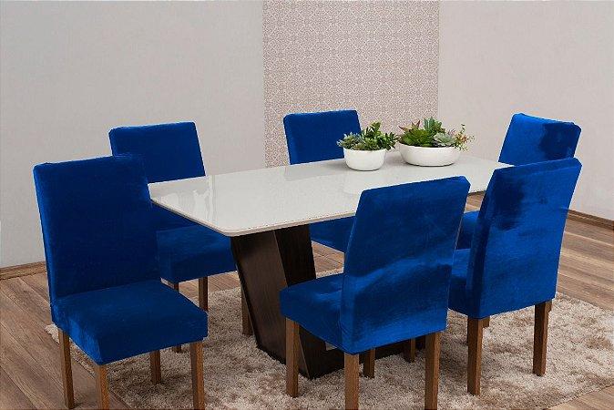 Capa Para Cadeira De Veludo - Kit 6 Peças Azul Royal