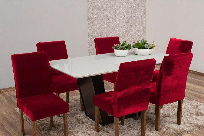 Capa Para Cadeira De Veludo - Kit 6 Peças Vermelho