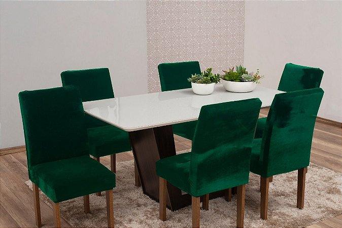 Capa Para Cadeira De Veludo - Kit 6 Peças Verde