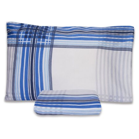 Jogo De Lençol Premium Solteiro 2 Peças Elástico Xadrez Azul