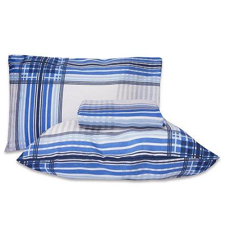 Jogo Lençol Premium Casal Padrão 3 Pçs Elástico Xadrez Azul