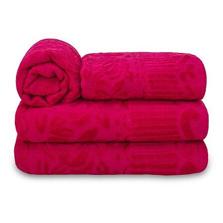 Jogo de Toalha de Banho 4 Peças Jasmim - Pink