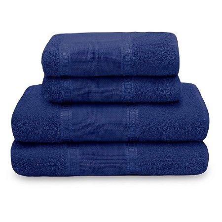 Jogo de Toalha de Banho 4 Peças Liso Nobre - Azul Royal