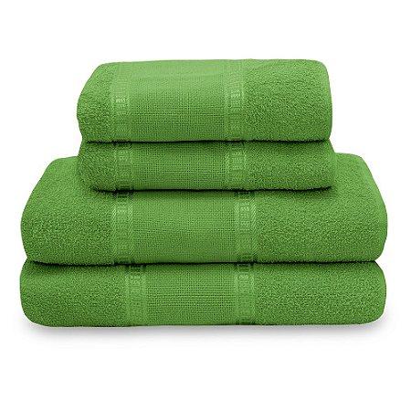 Jogo de Toalha de Banho 4 Peças Liso Nobre - Verde