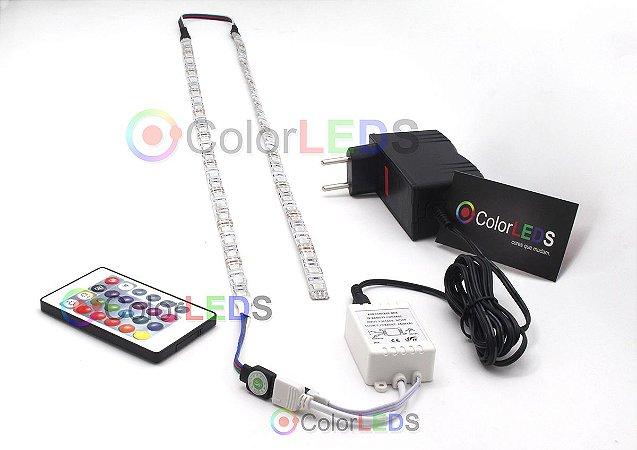 Luminária Aquário 2 x Fita LED RGB 5050 IP65 com silicone 60 leds/metro - de 30cm a 1,5m
