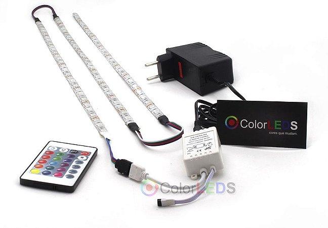 Luminária Aquário 3 x Fita LED RGB 5050 IP65 com silicone 60 leds/metro - de 30cm a 1,5m