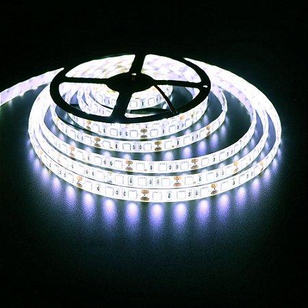 Luminária Aquário Fita LED Branco Frio 5050 IP65 com silicone 60 leds/metro - de 30cm a 1,5m