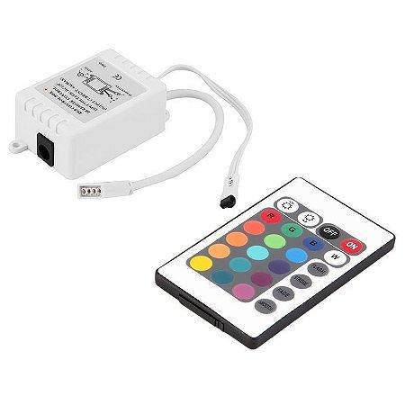 Controlador + Controle 24 Teclas P/ Fita Led Rgb 5050 E 3528