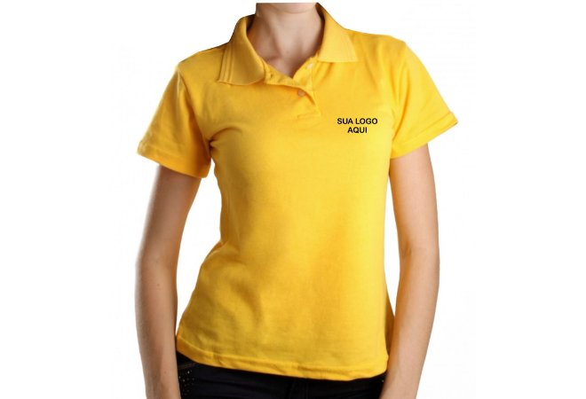 CAMISA POLO PIQUET FEMININA BORDADA/ESTAMPADA