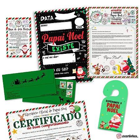 Cartinha Papai Noel | Envelope verde c/ 04 brindes