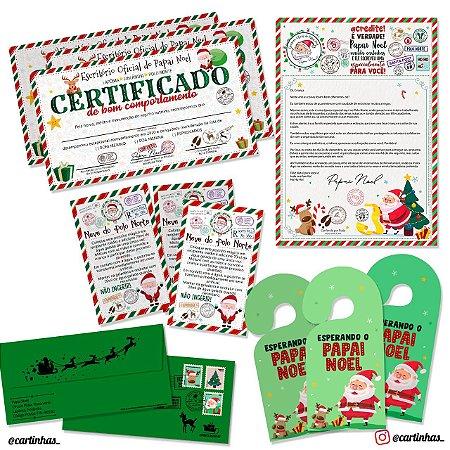 Cartinha Papai Noel | Para 3 irmãos | Envelope verde