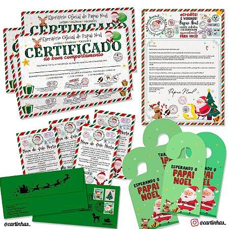 Cartinha Papai Noel | Para 4 irmãos | Envelope verde