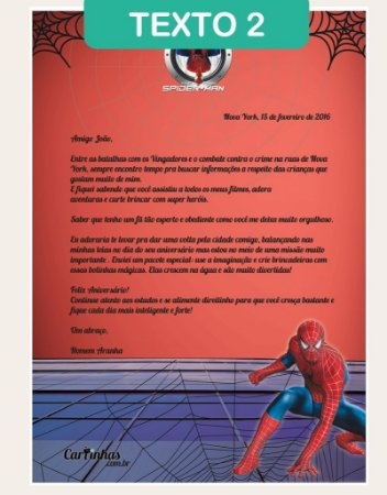 Cartinha Homem Aranha | com 2 BRINDES!