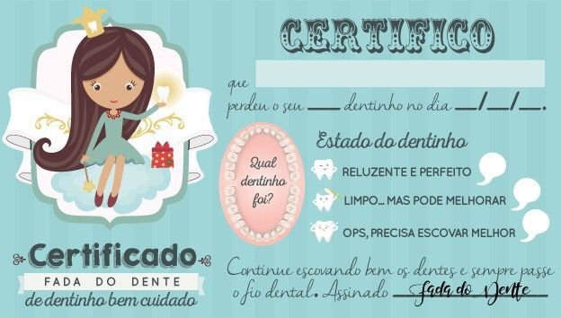 Certificado da Fada do Dente