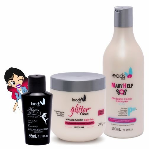 Salvação Imediata Platinum ( S.O.S Mary Help 500 ml + Másc Glitter Cream 500 gr + Magic Wand Platinum 35 ml )