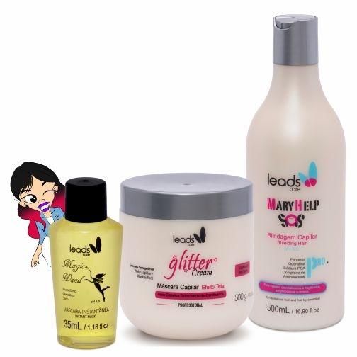 Salvação Imediata ( S.O.S Mary Help 500 ml + Másc Glitter Cream 500 gr + Magic Wand 35 ml )