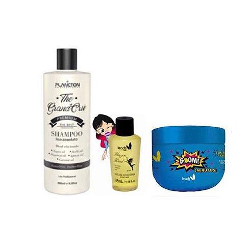 Liso Brilhante ( Shampoo The Grand Cru 500 ml + Magic Wand + Máscara Boom 3 minutos 300 gr)