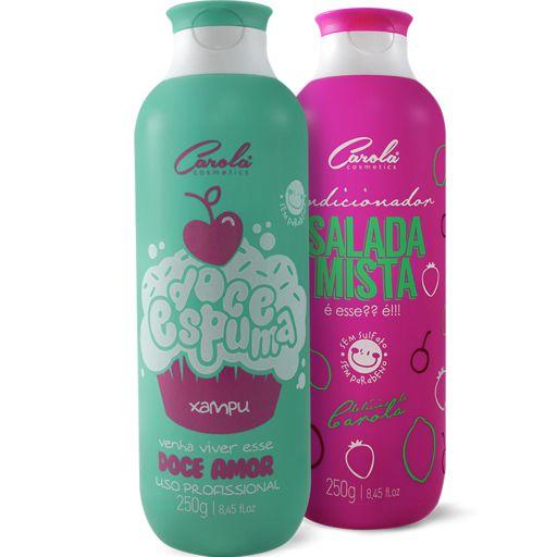 Doce Espuma Xampú Carola 250g + Salada Mista Condicionador Carola 250g