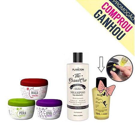 Shampoo Liso Absoluto The Grand Cru 500 ml + Creminhos Carola Pera, Uva e Maça 300g Ganhou MAGIC WAND