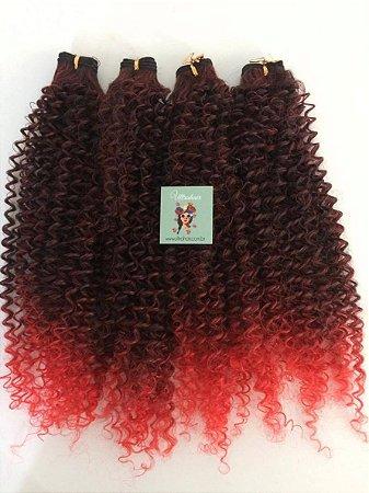 Kit Fibra Orgânica (Hair Dreams) Cacho Fechado - Cor Ombré Preto com Vermelho - Todas peças no tamanho de 55cm (esticado) - Total 120 Gramas - 80cm de Tela em cada Peça