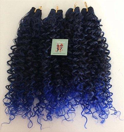 Kit Fibra Orgânica (Hair Dreams) Cacho Médio - Cor Ombré Preto com Azul - Todas peças no tamanho de 55cm (esticado) - Total 120 Gramas - 80cm de Tela em cada Peça