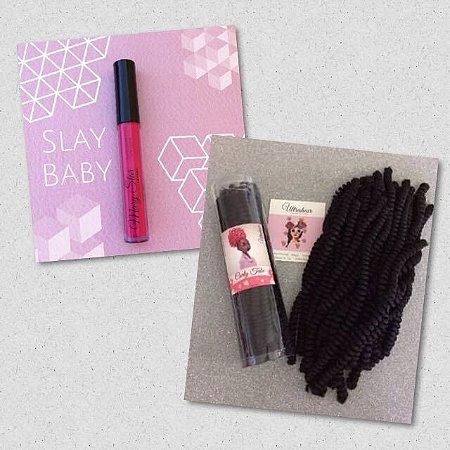 Combo de 01 Curly Tube cor PRETO + 01 Batom Líquido Matte Slay Baby (Rosa Escuro)
