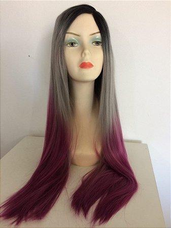 Front Lace de Fibra - Ombré Preto + Cinza com Rosa Escuro - Lisa