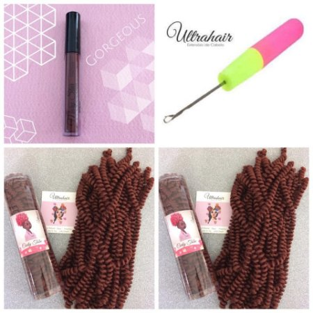 Combo de 02 Curly Tube cor Cobre + 01 Batom Líquido Matte Cor Gorgeous (Marrom Escuro) + 01 Agulha para Crochet Braids