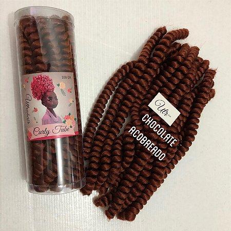 CURLY TUBE - FIBRA PARA CROCHET BRAIDS - COR CHOCOLATE ACOBREADO 200 Gramas (Tamanho: 45cm Fechado - 90cm Aberto)