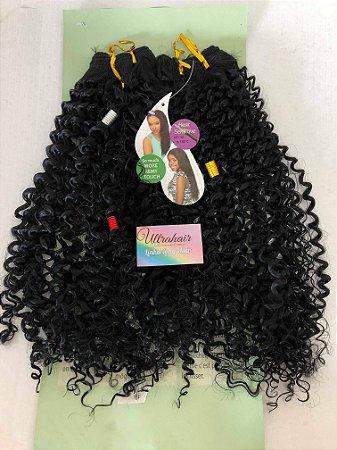 Fibra Orgânica Cacheada Linha Long Hair UltraHair - 60 cm - Cor Preto - 190 gramas - 02 Telas com 2 metros cada, total de 4 metros de tela - (Vem com 03 Berloques de Brinde)
