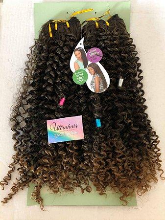 Fibra Orgânica Cacheada Linha Long Hair UltraHair - 60 cm - Cor Ombré Castanho Médio com Castanho Claro - 190 gramas - 02 Telas com 2 metros cada, total de 4 metros de tela - (Vem com 03 Berloques de Brinde)