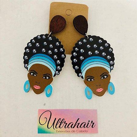 Par de Brincos Afro Style com detalhes em Azul