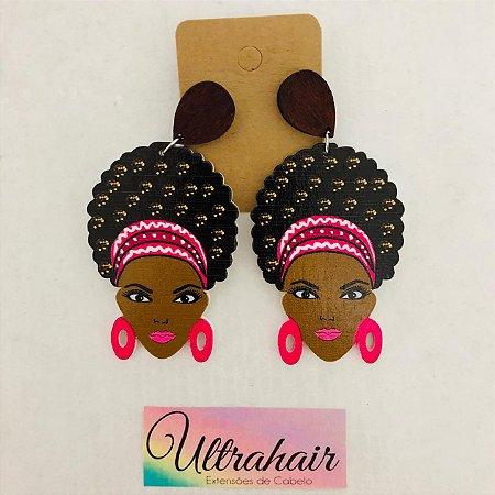 Par de Brincos Afro Style com detalhes em Rosa