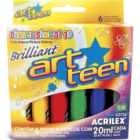 Tinta Relevo Brillant Art Teen 6 Cores Acrilex