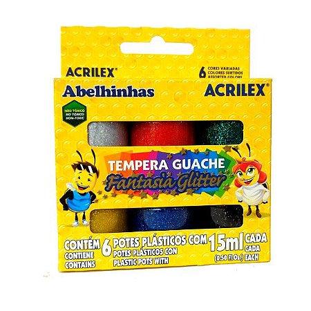 Tempera Guache Fantasia Glitter Abelhinhas Acrilex